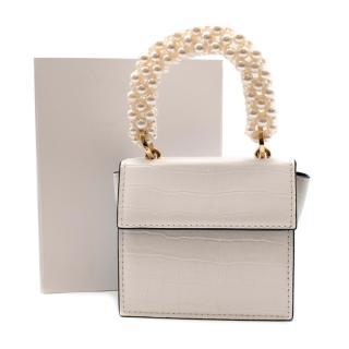 0711 Tbilisi Croc Effect Mini Lou Bag with Pearl Handle