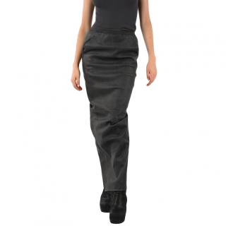 Rick Owens Black Leather Extreme Pencil Skirt