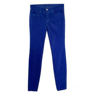 J Brand Blue Velour Skinny Jeans