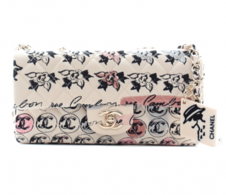 Chanel Jersey Camellia Printed Limited Edition Flap Bag
