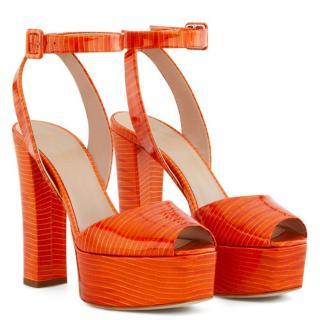 Giuseppe Zanotti Orange Tejus Platform Sandals