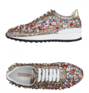 Casadei Glitter Rainbow Lace-Up Sneakers