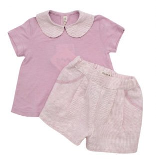 Mimu Pink Recycled Linen Kids Top & Shorts