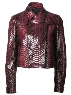 Burberry Prorsum Red Leather Embossed Jacket