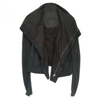 Rick Owens charcoal leather asymmetric jacket