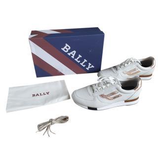 Bally White/Rose Gold Gavinia Sneakers