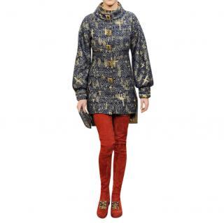 Chanel Paris/Byzance Blue Metallic Tweed Coat