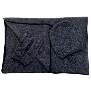 Chanel Black Cashmere & Silk Blend Knit Scarf, Hat & Gloves