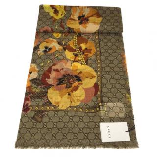 Gucci Blooms Monogram Supreme Wool Scarf