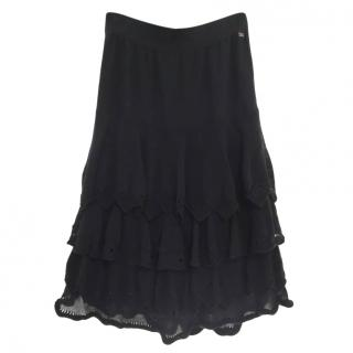Sonia Rykiel Black Cotton Knit Skirt