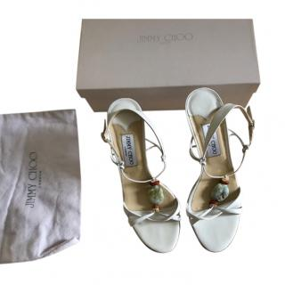 Jimmy Choo White Khan Leather Sandals