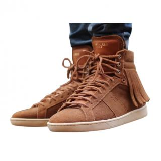 Saint Laurent brown suede court classic fringed hightops