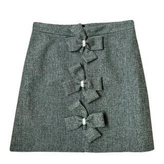 Manoush grey wool bow appliqu� miniskirt