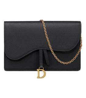 Dior black grained calfskin saddle pouch on chain