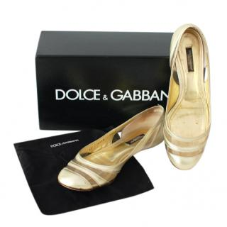 Dolce & Gabbana Gold leather and PVC ballerinas