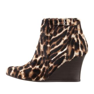Lanvin leopard print pony hair wedge ankle boots