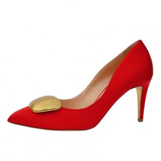 Rupert Sanderson red satin pumps