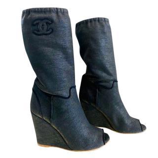 Chanel black fabric peeptoe wedge boots