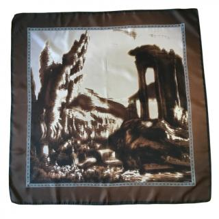 Prada Brown Silk Garden Print Scarf