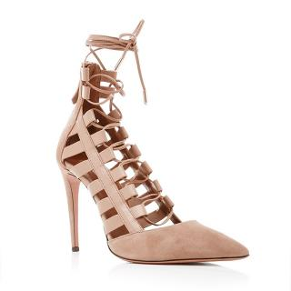 Aquazzura leather & suede lace up Amazon sandals