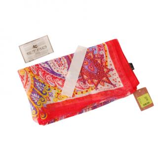 Etro Red paisley print linen and silk scarf