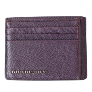 Burberry aubergine grained leather cardholder