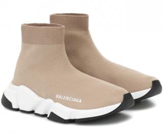 Balenciaga Beige Speed Sock Sneakers