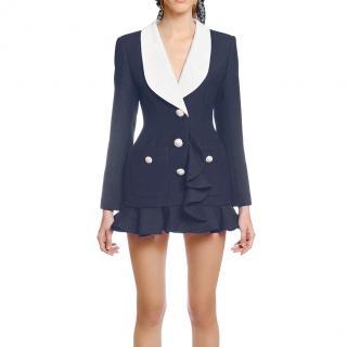 Alessandra Rich Blue Crepe Ruffled Blazer Mini Dress