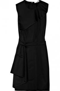 Carven Black Cotton-Twill Ruffled Mini Dress