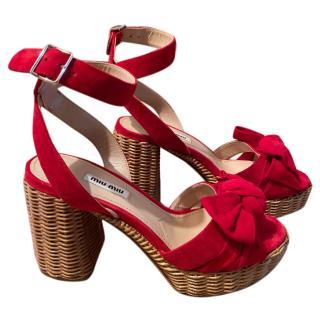 Miu Miu Red Suede & Raffia Sandals