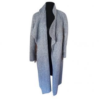 Emilia Wickstead Blue-Gray Tweed Silk Blend Coat
