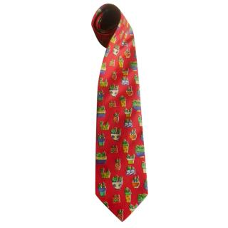 Jean Charles de Castelbajac Cactus Pot Red Embroidered Silk Tie