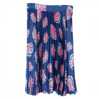 Tucker blue fan print silk pleated skirt