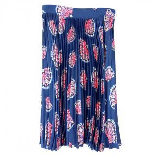 Tucker blue fan print silk pleated skirt