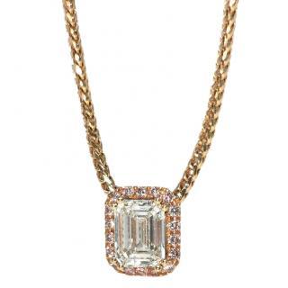 William & Son 18ct Yellow Gold Emerald Cut Diamond Pendant Necklace