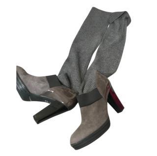 Hogan Grey Suede Knit Sock Boots