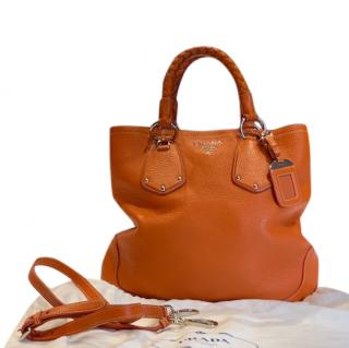 Prada Orange Lambskin Leather Tote Bag