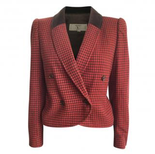 Valentino Red Wool & Cashmere Blend Houndstooth Tailored Jacket