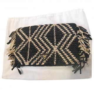 Prada Black & White Woven Raffia Shoulder Bag