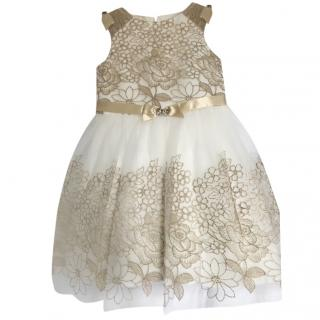 David Charles White & Gold Embroidered Dress