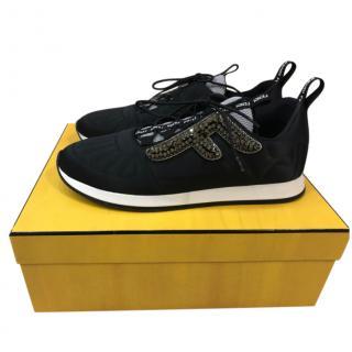 Fendi Black Knit Crystal Embellished Sneakers