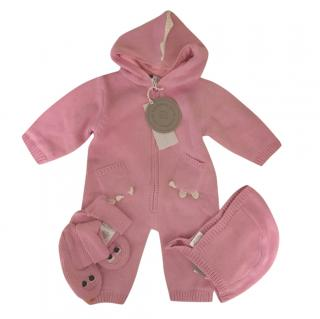 Stella McCartney Kids Pink Knit Dragon Baby Grow Bonnet & Booties