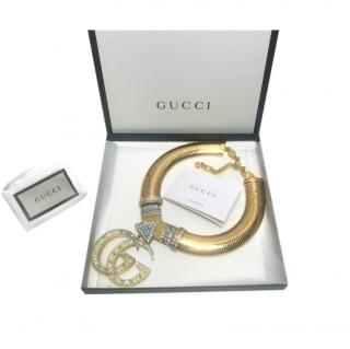 Gucci Gold Tone Crystal Embellished GG Collar Necklace