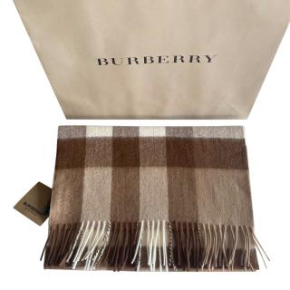 Burberry Brown Plaid Cashmere Scarf