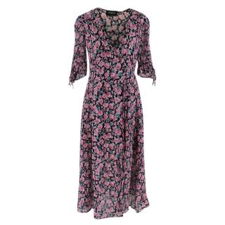 The Kooples Floral Silk Black & Pink Dress
