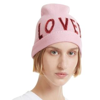 Gucci Women's Sequin Embroidered Loved Knit Hat In Pink