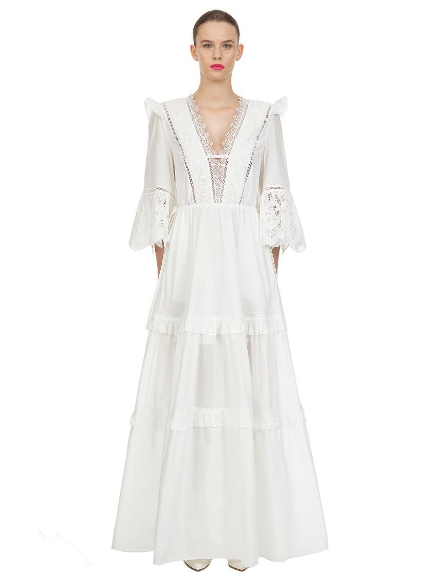 Self Portrait White Cotton Voile Maxi Dress
