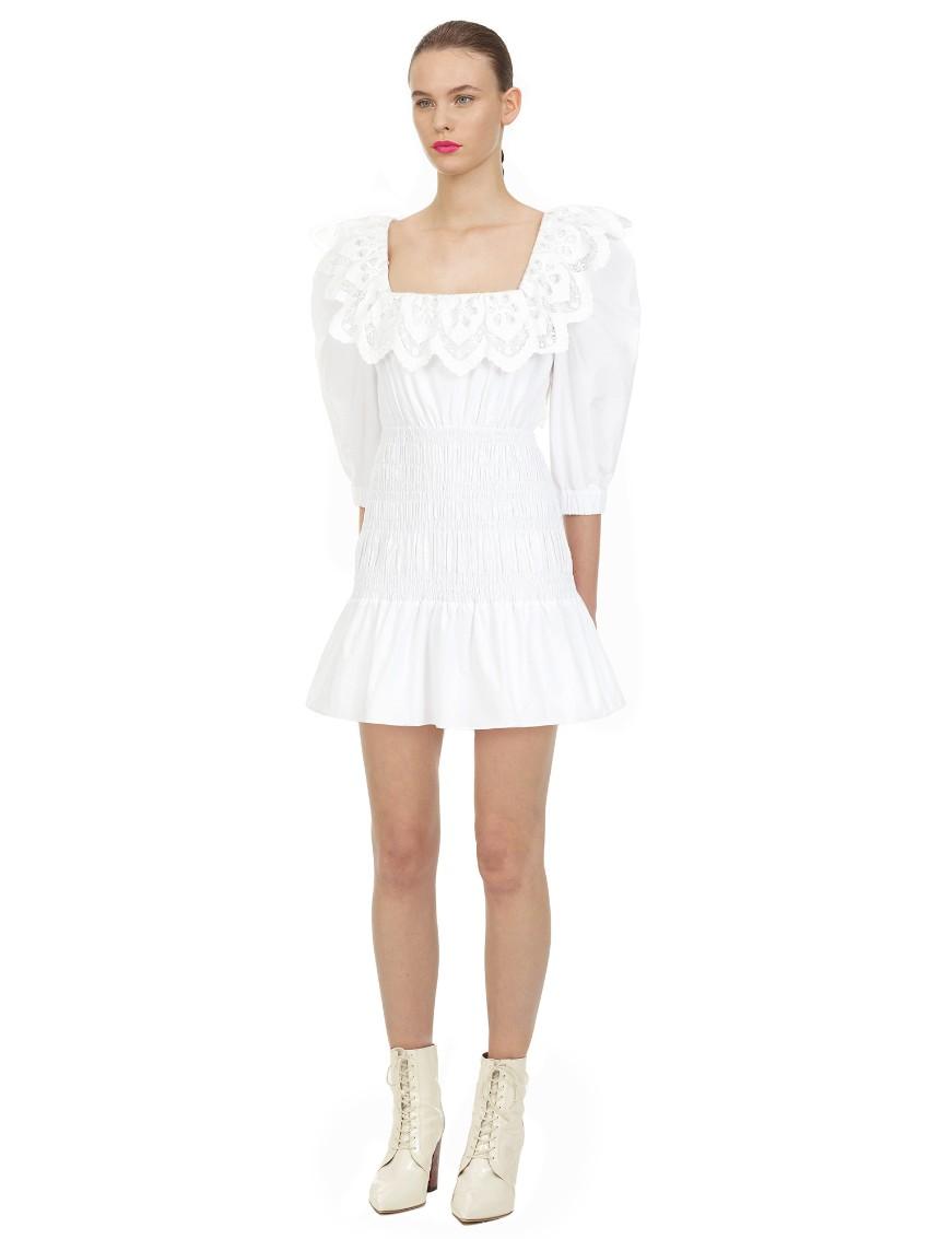 Self Portrait White Cotton Poplin Mini Dress