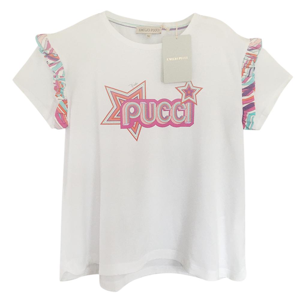 Emilio Pucci White Print Trim Glitter Logo Top