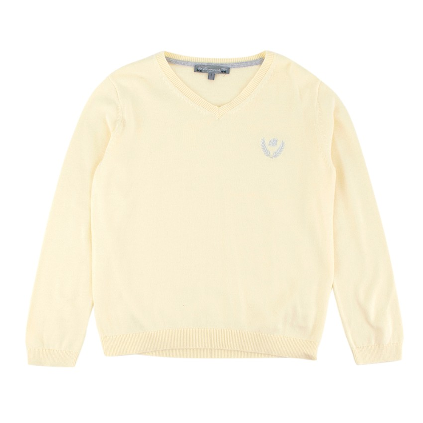 Bonpoint Yellow Embroidered V-Neck Sweater